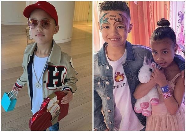 """美国饶舌歌手Consequence的7岁儿子Caiden Mills近期于社交网狂放照片疑似力追坎耶・维斯特(Kanye West)与金・卡戴珊(Kim Kardashian)的5岁女儿 """"小西北"""" 。"""